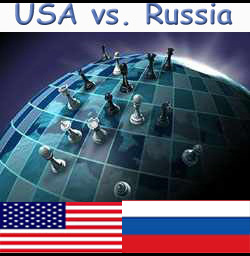 US Russia power chess game flags