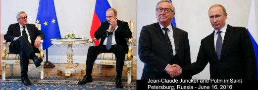 Russian President Vladimir Putin, right, gestures as he listens to European Commission President Jean-Claude Juncker during their talks at the St. Petersburg International Economic Forum in St.Petersburg, Russia, Thursday, June 16, 2016. Juncker is the highest ranking EU official to visit Russia after the 2014 Russian annexation of Crimea which trigged U.S. and EU sanctions against Russia. (AP Photo/Dmitry Lovetsky)