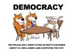 DemocracyTwowolvesandasheepvotingonwhatsfordinner