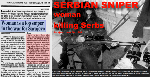 Arrow Serb sniper Sarajevo 6-30-92