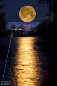 Serpent cloud under the moon