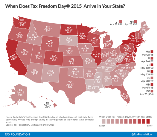 Map of Tax Freedom Day by State