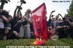 Athens Syriza flag burning