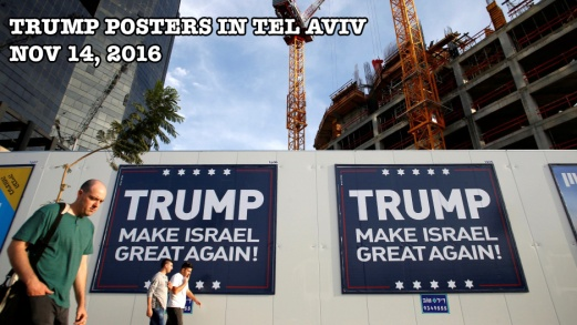 Trump signs in Tel Aviv